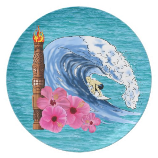 Surfer And Tiki Statue Plate