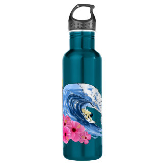 Surfer And Tiki Statue Stainless Steel Water Bottle