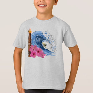 Surfer And Tiki Statue T-Shirt
