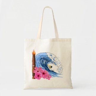 Surfer And Tiki Statue Tote Bag