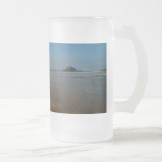 Surfer at Perranporth Beach Cornwall England Frosted Glass Beer Mug