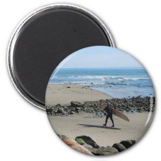 Surfer at Rincon Beach, Ventura, CA 2 Inch Round Magnet