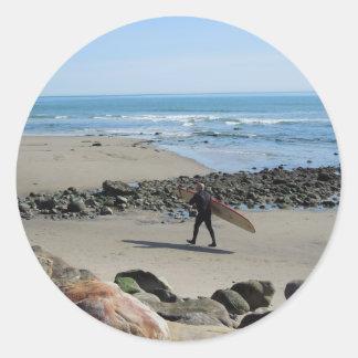 Surfer at Rincon Beach, Ventura, CA Classic Round Sticker