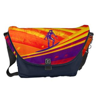 Surfer at Sunset Background Courier Bag