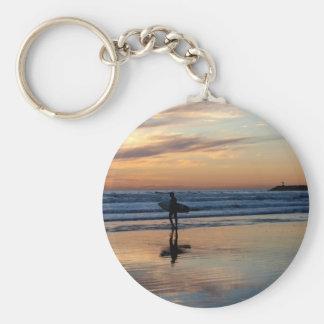 Surfer at Sunset Basic Round Button Keychain
