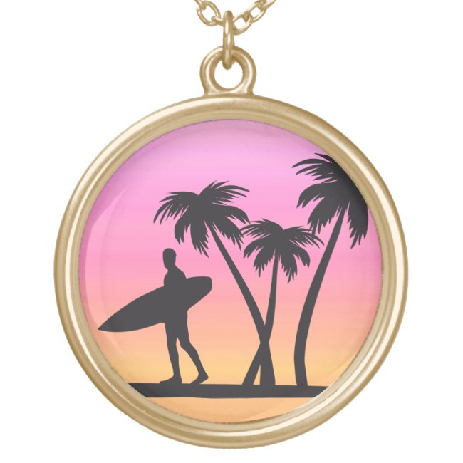 Surfer at Sunset Black Silhouette Sports Necklace