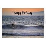 Surfer at Sunset Happy Birthday Card