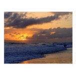 Surfer at Sunset on Kauai Beach, Niihau on Horizon Postcard