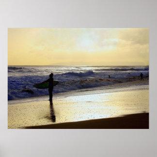 Surfer at Sunset on Kauai Beach, Niihau on Horizon Poster