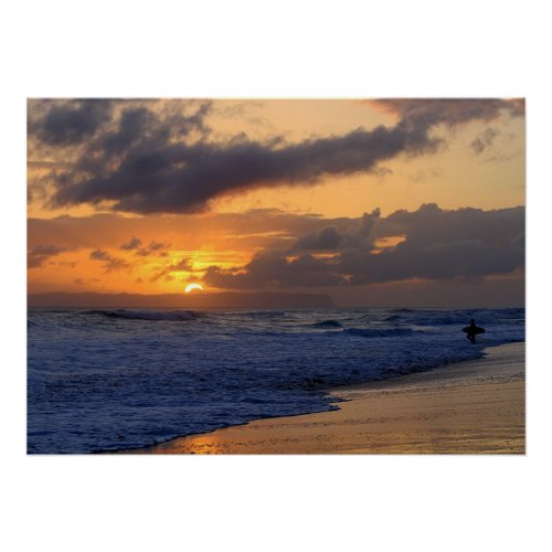 Surfer at Sunset on Kauai Beach, Niihau on Horizon Poster