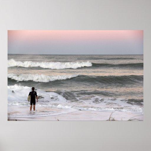 Surfer At Sunset Poster