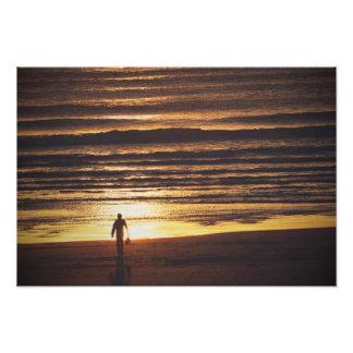 Surfer at Sunset Print Art Photo