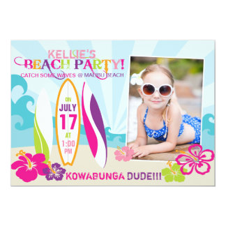 "Surfer Babe and Surf Boards Beach Birthday 2 5"" X 7"" Invitation Card"