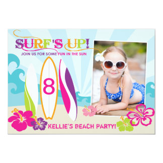 Surfer Babe and Surf Boards Beach Birthday Card