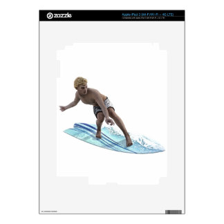 Surfer bending down and Moving to the Left Decal For iPad 3