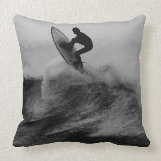 surfer big wave black and white throw pillow