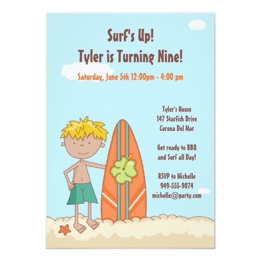Surfer Birthday Party Invitation
