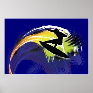 Surfer black figure & colorful wave on blue poster