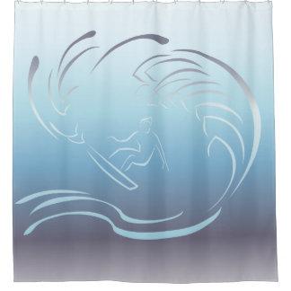 Surfer Blue Ocean Wave Shower Curtain