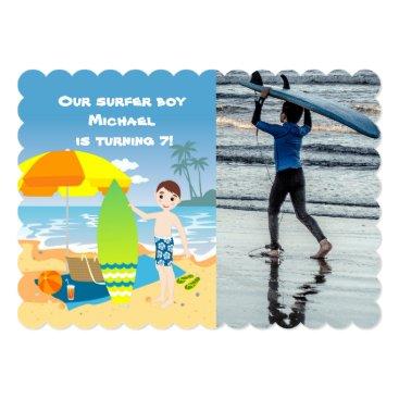 Beach Themed Surfer boy beach birthday party photo invitation