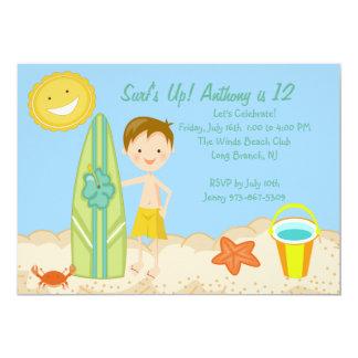Surfer Boy Beach Party Birthday Invitation