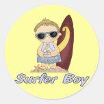 Surfer Boy Classic Round Sticker