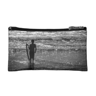 Surfer Boy Silhouette ( black and white) Cosmetic Bag