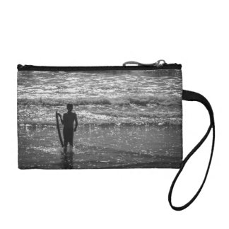 Surfer Boy Silhouette ( black and white) Coin Wallet