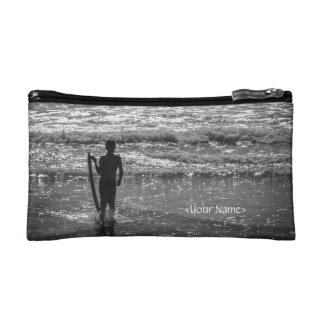 Surfer Boy Silhouette ( black and white) Cosmetic Bags