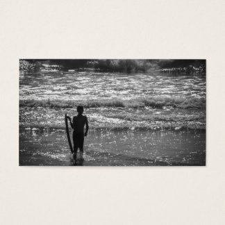 Surfer Boy Silhouette ( black and white) Business Card
