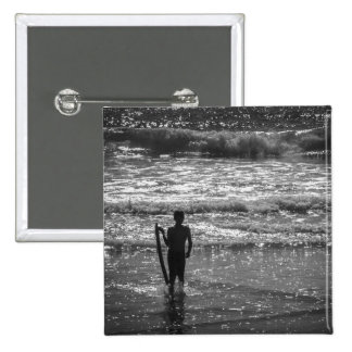 Surfer Boy Silhouette ( black and white) Pin