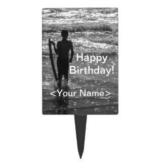 Surfer Boy Silhouette ( black and white) Cake Toppers