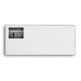 Surfer Boy Silhouette ( black and white) Envelope