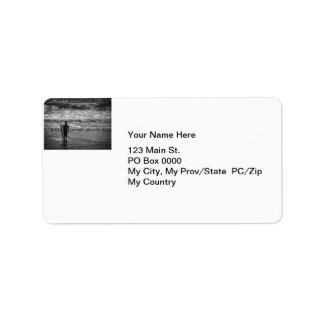 Surfer Boy Silhouette ( black and white) Label