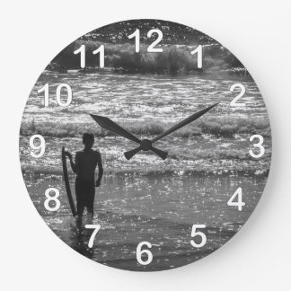 Surfer Boy Silhouette ( black and white) Large Clock