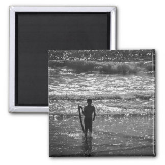Surfer Boy Silhouette ( black and white) Magnet