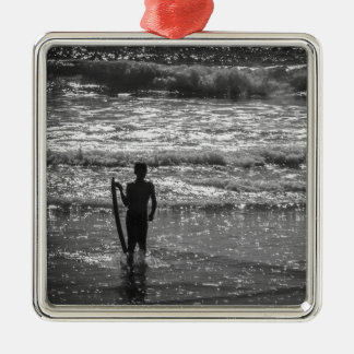 Surfer Boy Silhouette ( black and white) Metal Ornament