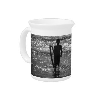 Surfer Boy Silhouette ( black and white) Pitchers