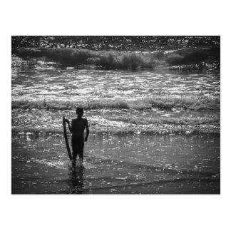 Surfer Boy Silhouette ( black and white) Postcard