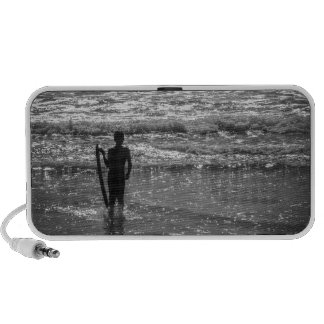 Surfer Boy Silhouette ( black and white) Mini Speakers