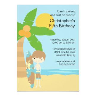 Surfer Boy's Swimming Party Birthday Invitation