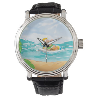 Surfer . Cartoon Surfer. Wristwatch