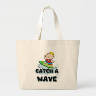 Surfer Catch a Wave Large Tote Bag
