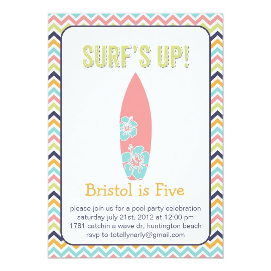 Surfer Chic. Pool Party Invitation