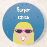 Surfer Chick With Sunglasses Drink Coaster