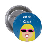 Surfer Chick With Sunglasses Pin