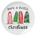Surfer Christmas Plate plate