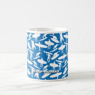 Surfer Collage in white on darker blue background Coffee Mug
