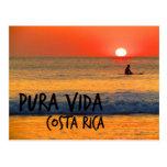 Surfer Costa Rica Pura Vida Sunset Post Card