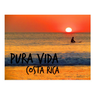 Surfer Costa Rica Pura Vida Sunset Postcard